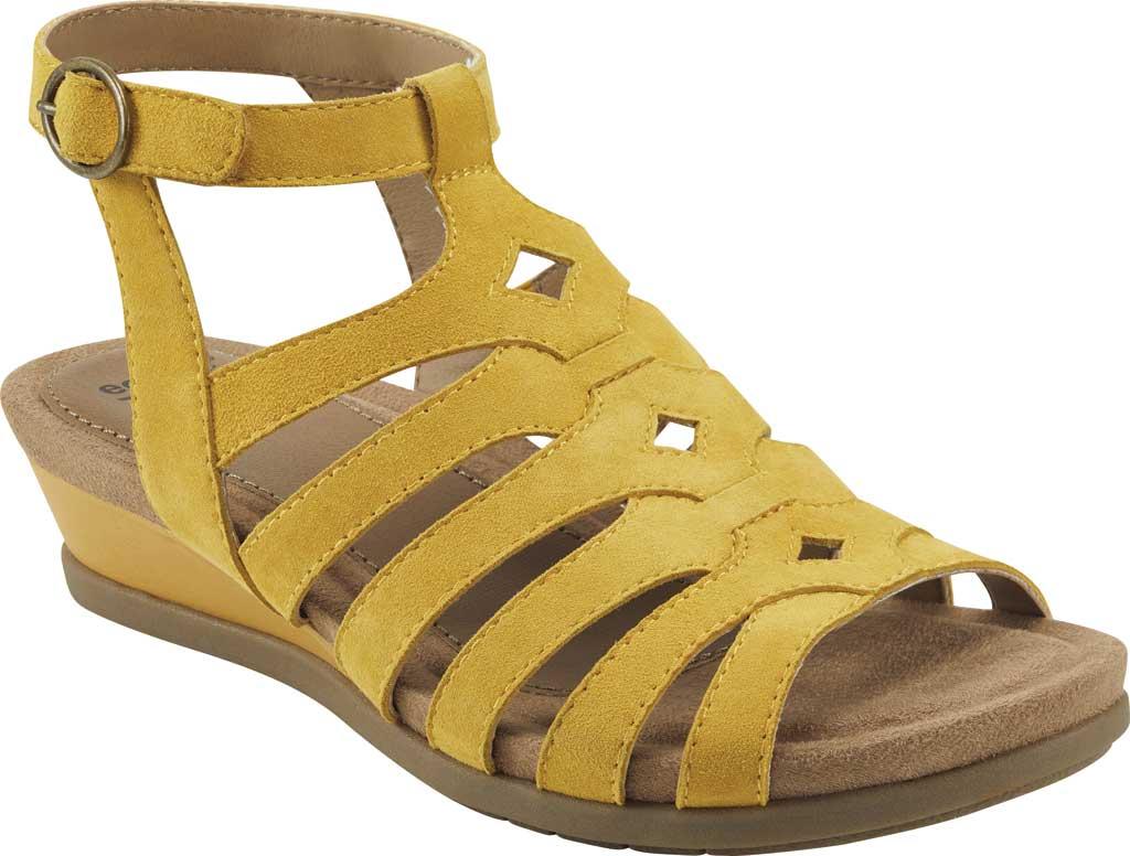 Women's Earth Origins Pippa Gladiator Sandal, Yolk Yellow Kid Suede, large, image 1