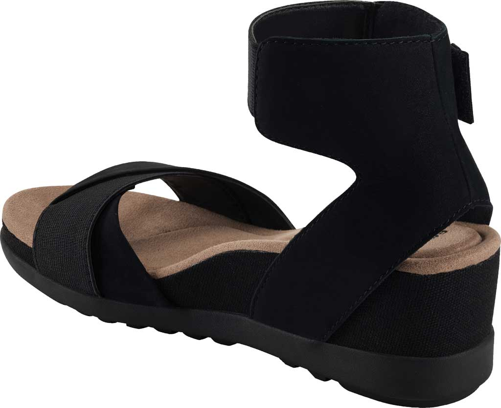 Women's Earth Origins Carolina Ankle Strap Wedge Sandal, Black Ecobuck, large, image 3