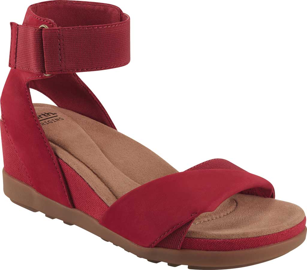 Women's Earth Origins Carolina Ankle Strap Wedge Sandal, Bright Red Ecobuck, large, image 1