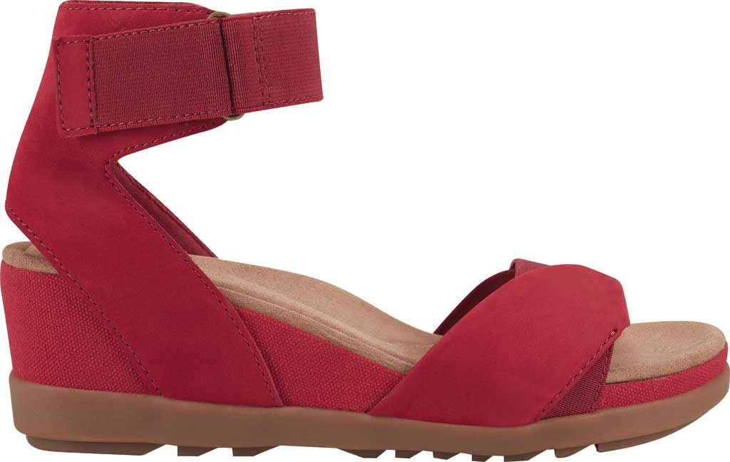 Women's Earth Origins Carolina Ankle Strap Wedge Sandal, Bright Red Ecobuck, large, image 2