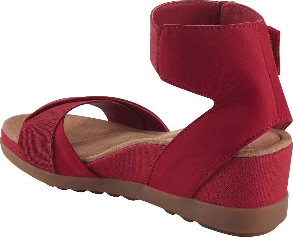 Women's Earth Origins Carolina Ankle Strap Wedge Sandal, Bright Red Ecobuck, large, image 3