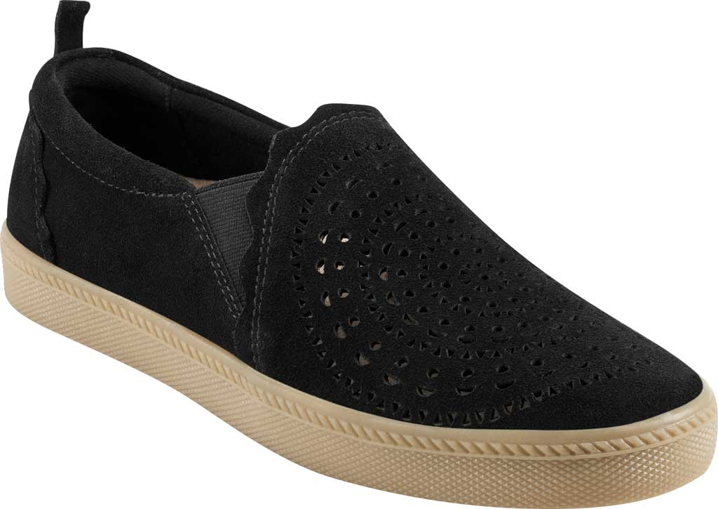 Women's Earth Origins Zelle Slip On Sneaker, Black Cow Suede Eco 2, large, image 1