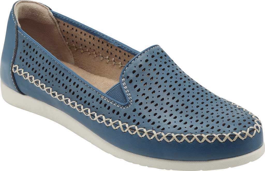 Women's Earth Origins Lizzy Perforated Smoking Flat, Sapphire Blue Nubuck, large, image 1