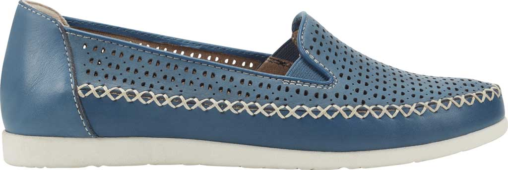 Women's Earth Origins Lizzy Perforated Smoking Flat, Sapphire Blue Nubuck, large, image 2