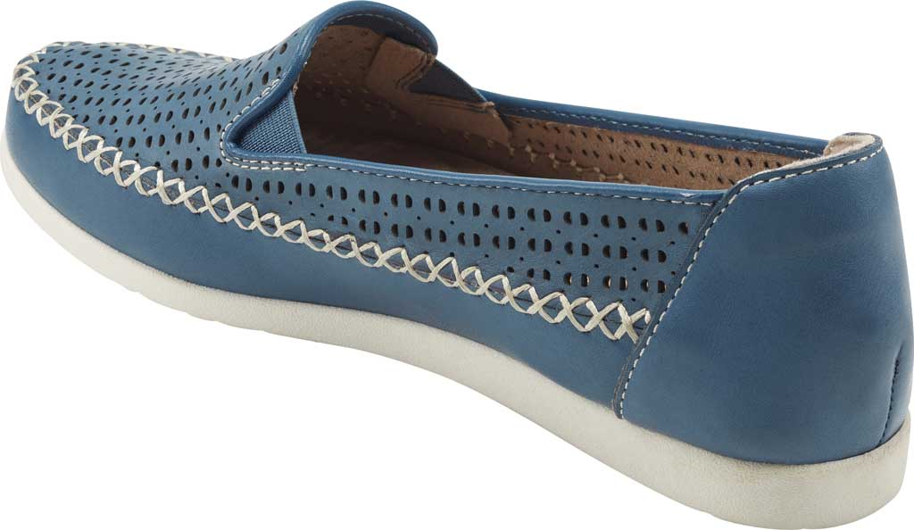 Women's Earth Origins Lizzy Perforated Smoking Flat, Sapphire Blue Nubuck, large, image 3