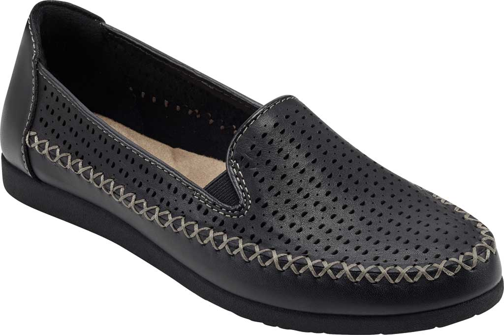 Women's Earth Origins Lizzy Perforated Smoking Flat, Black Eco Calf Leather, large, image 1