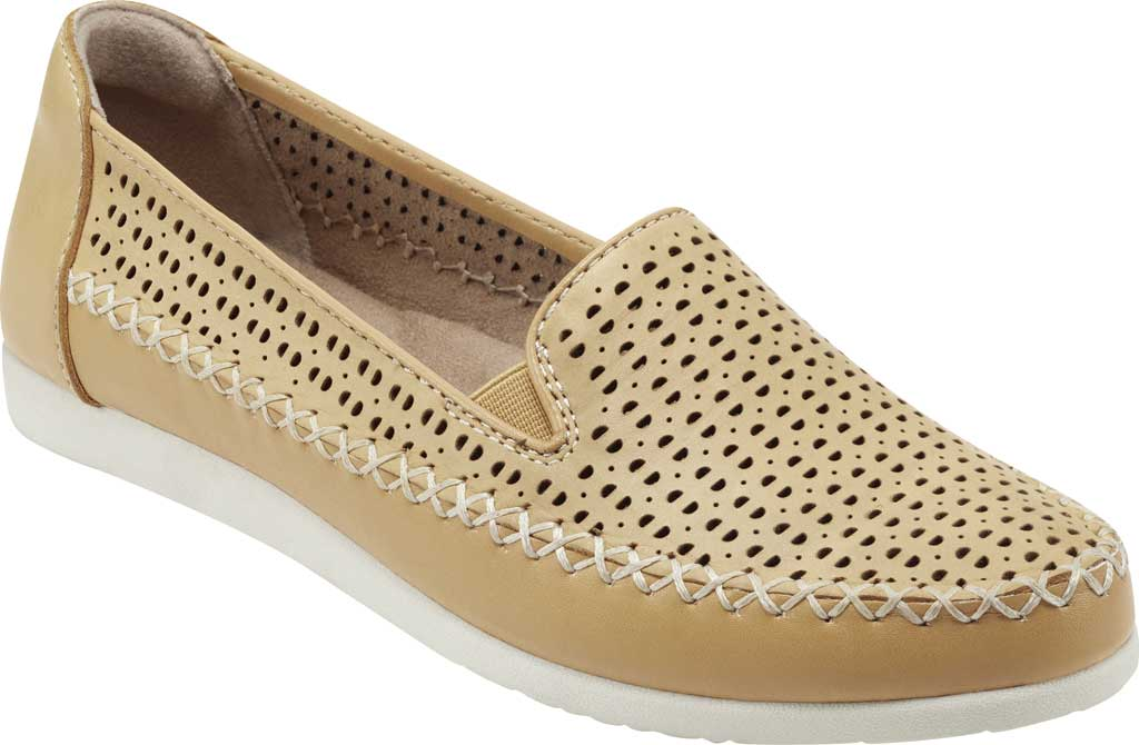 Women's Earth Origins Lizzy Perforated Smoking Flat, Amber Yellow Eco Calf Leather, large, image 1