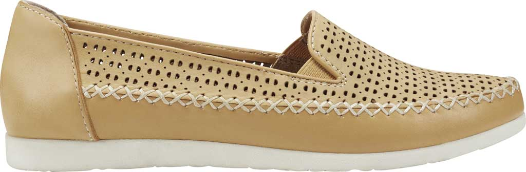 Women's Earth Origins Lizzy Perforated Smoking Flat, Amber Yellow Eco Calf Leather, large, image 2