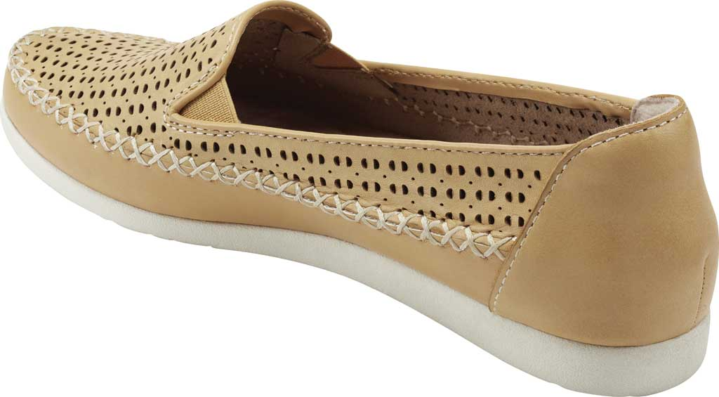 Women's Earth Origins Lizzy Perforated Smoking Flat, Amber Yellow Eco Calf Leather, large, image 3