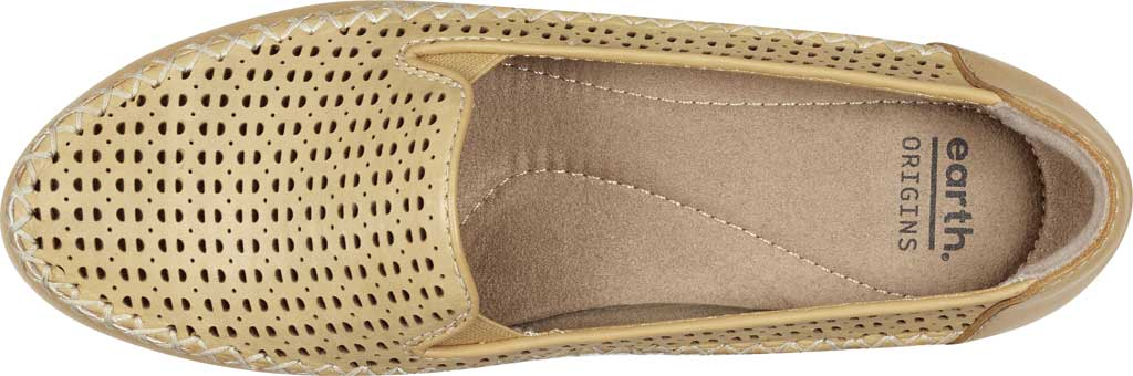 Women's Earth Origins Lizzy Perforated Smoking Flat, Amber Yellow Eco Calf Leather, large, image 4