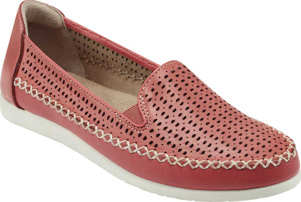 Women's Earth Origins Lizzy Perforated Smoking Flat, Bright Coral Eco Calf Leather, large, image 1