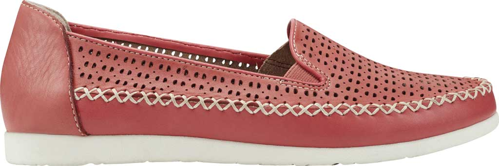 Women's Earth Origins Lizzy Perforated Smoking Flat, Bright Coral Eco Calf Leather, large, image 2