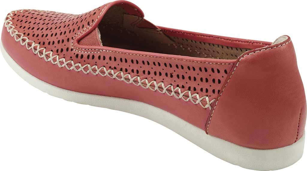 Women's Earth Origins Lizzy Perforated Smoking Flat, Bright Coral Eco Calf Leather, large, image 3