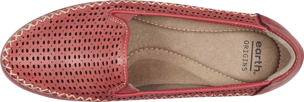 Women's Earth Origins Lizzy Perforated Smoking Flat, Bright Coral Eco Calf Leather, large, image 4