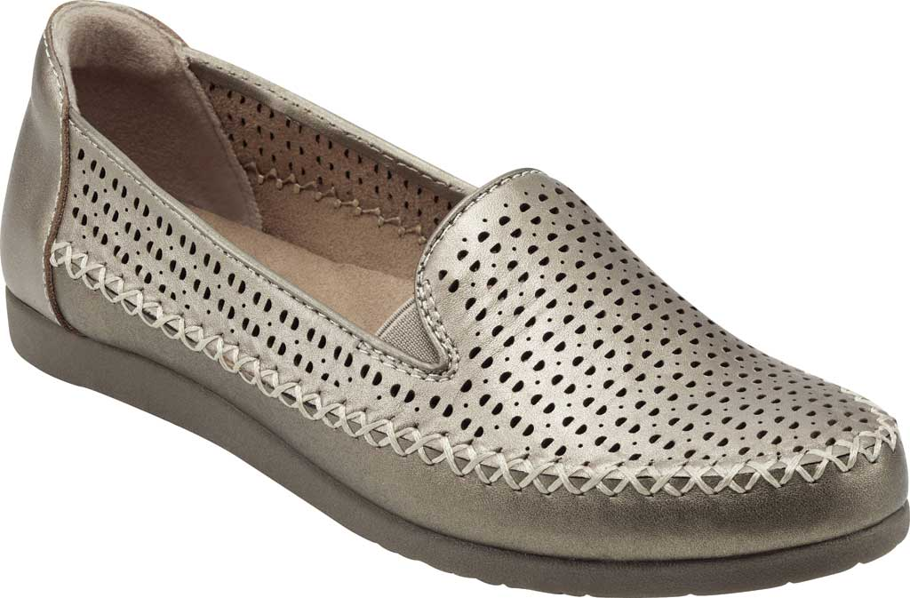 Women's Earth Origins Lizzy Perforated Smoking Flat, Platinum Pearlized Eco Calf Leather, large, image 1