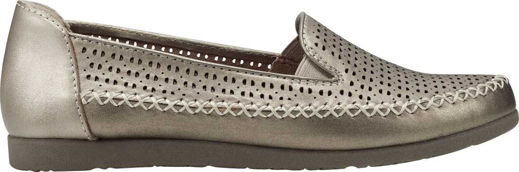Women's Earth Origins Lizzy Perforated Smoking Flat, Platinum Pearlized Eco Calf Leather, large, image 2