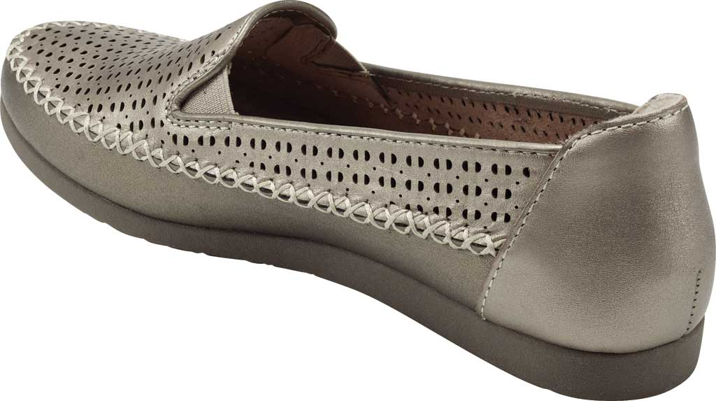 Women's Earth Origins Lizzy Perforated Smoking Flat, Platinum Pearlized Eco Calf Leather, large, image 3