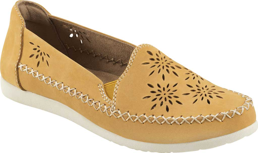 Women's Earth Origins Loralei Perforated Loafer, Amber Yellow Vintage Cookie II Nubuck, large, image 1