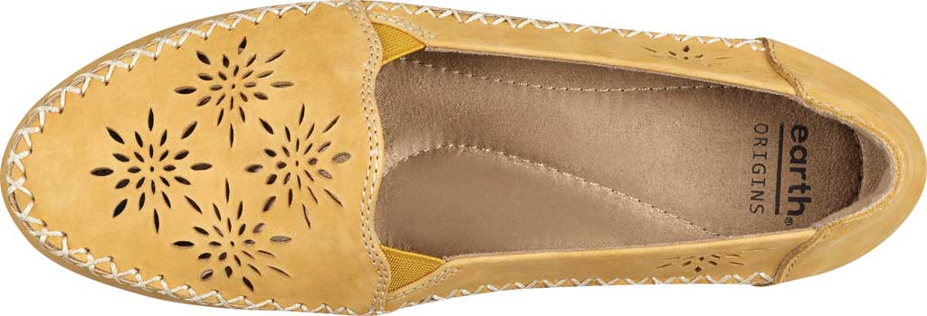 Women's Earth Origins Loralei Perforated Loafer, Amber Yellow Vintage Cookie II Nubuck, large, image 4