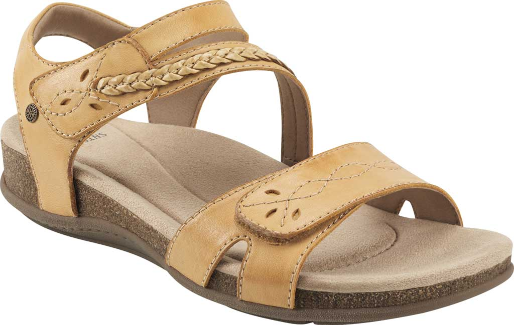Women's Earth Origins Bria Wedge Strappy Sandal, Amber Yellow Eco Calf Leather, large, image 1