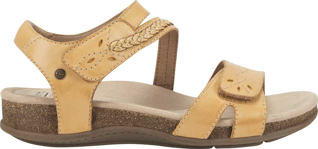 Women's Earth Origins Bria Wedge Strappy Sandal, Amber Yellow Eco Calf Leather, large, image 2