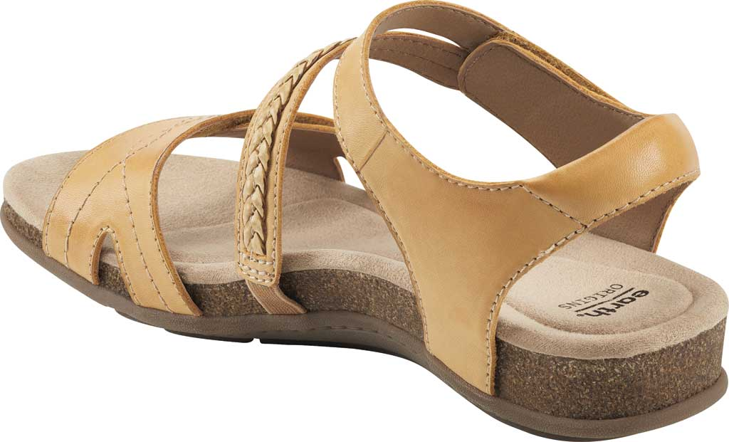 Women's Earth Origins Bria Wedge Strappy Sandal, Amber Yellow Eco Calf Leather, large, image 3