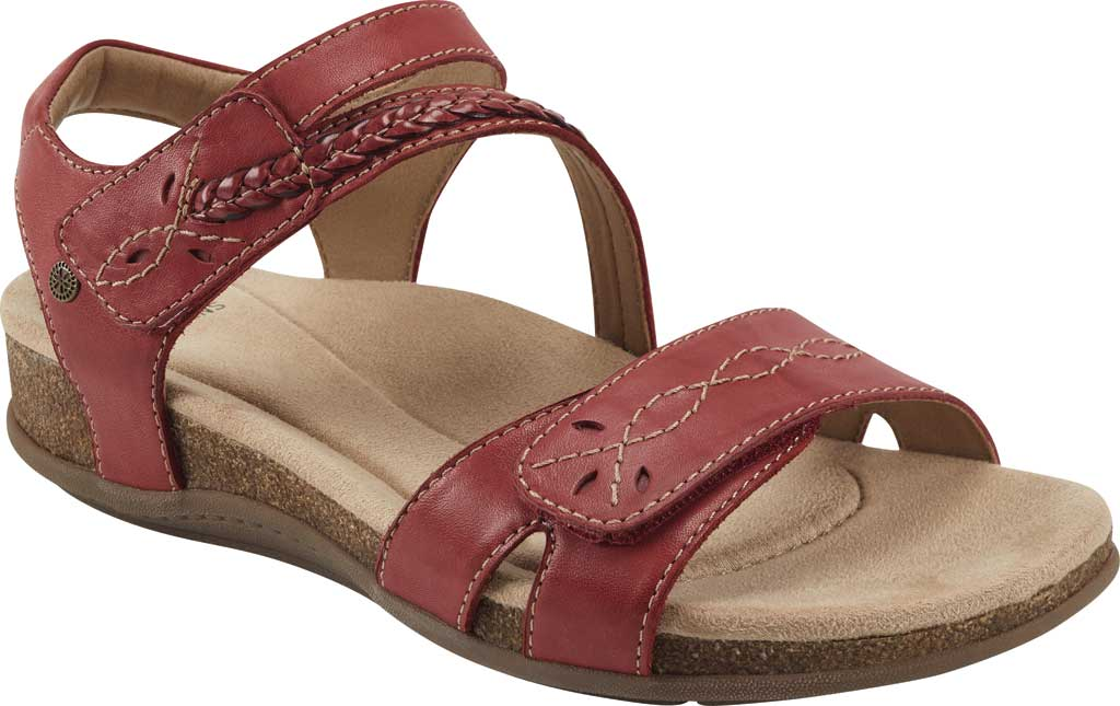 Women's Earth Origins Bria Wedge Strappy Sandal, Bright Red Eco Calf Leather, large, image 1