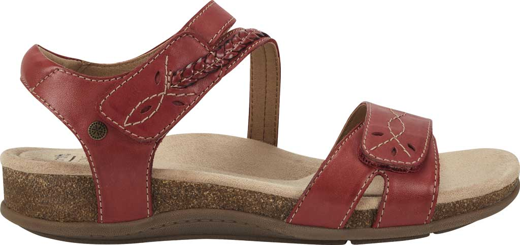 Women's Earth Origins Bria Wedge Strappy Sandal, Bright Red Eco Calf Leather, large, image 2