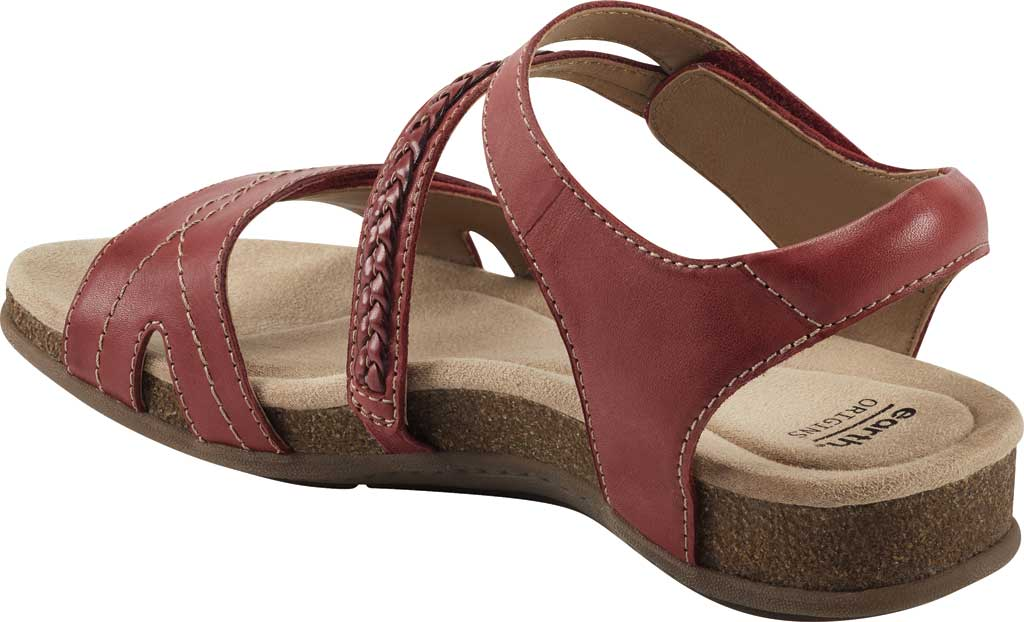 Women's Earth Origins Bria Wedge Strappy Sandal, Bright Red Eco Calf Leather, large, image 3