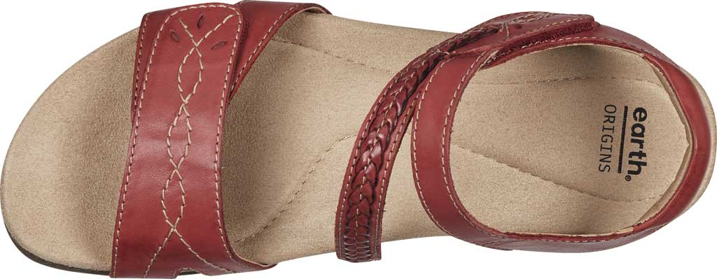 Women's Earth Origins Bria Wedge Strappy Sandal, Bright Red Eco Calf Leather, large, image 4