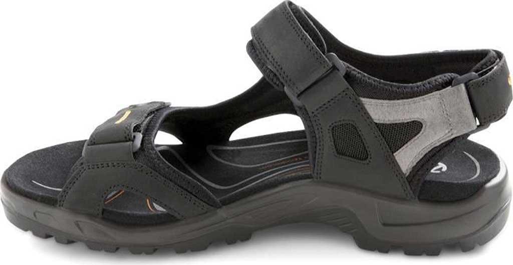 Men's ECCO Yucatan Sandal, Black/Mole/Black Oiled Nubuck/Textile, large, image 3