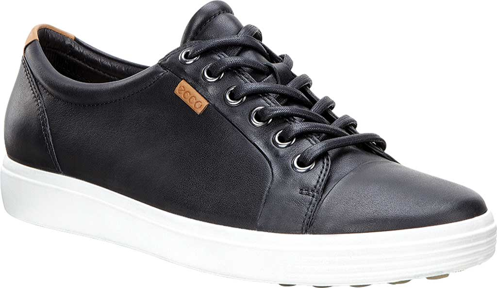 Women's ECCO Soft 7 Sneaker, Black Leather/Nubuck, large, image 1