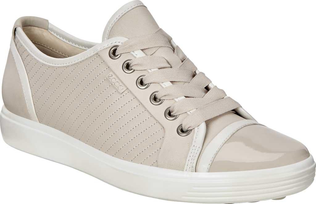 Women's ECCO Soft 7 Sneaker, Gravel/White/Gravel Leather, large, image 1