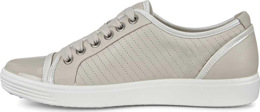 Women's ECCO Soft 7 Sneaker, Gravel/White/Gravel Leather, large, image 3