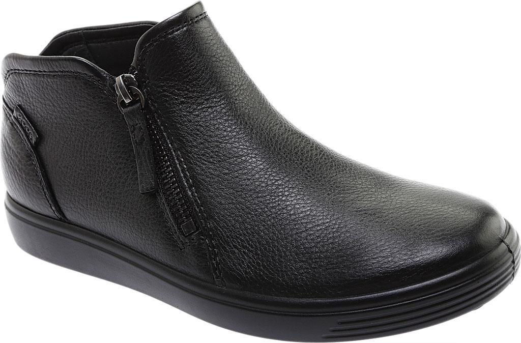 Women's ECCO Soft Low Cut Zip Bootie, Black Cow Leather, large, image 1