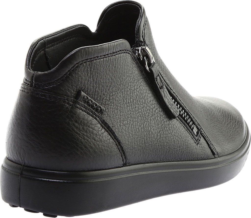 Women's ECCO Soft Low Cut Zip Bootie, Black Cow Leather, large, image 4