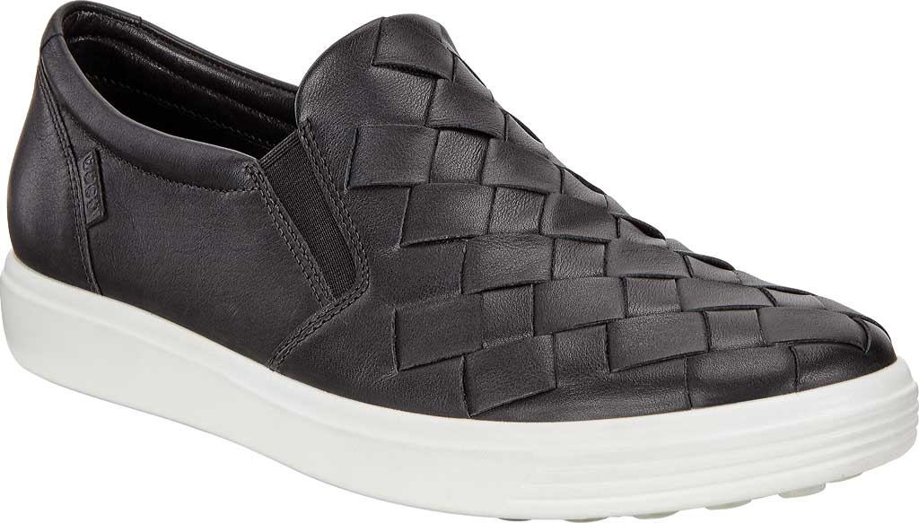 Women's ECCO Soft 7 Woven Slip-On, Black Cow Leather/Cow Nubuck, large, image 1