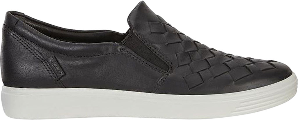 Women's ECCO Soft 7 Woven Slip-On, Black Cow Leather/Cow Nubuck, large, image 2