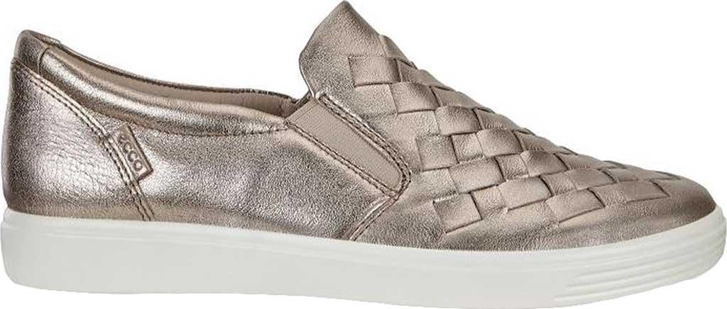 Women's ECCO Soft 7 Woven Slip-On, Warm Grey Metallic Cow Leather, large, image 2