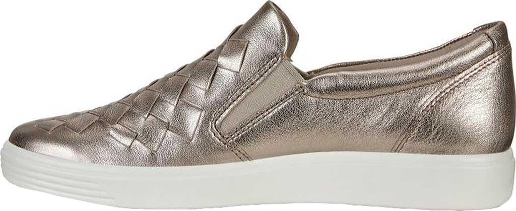Women's ECCO Soft 7 Woven Slip-On, Warm Grey Metallic Cow Leather, large, image 3