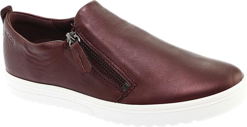 Women's ECCO Fara Zip Sneaker, Fig Metallic Leather, large, image 1