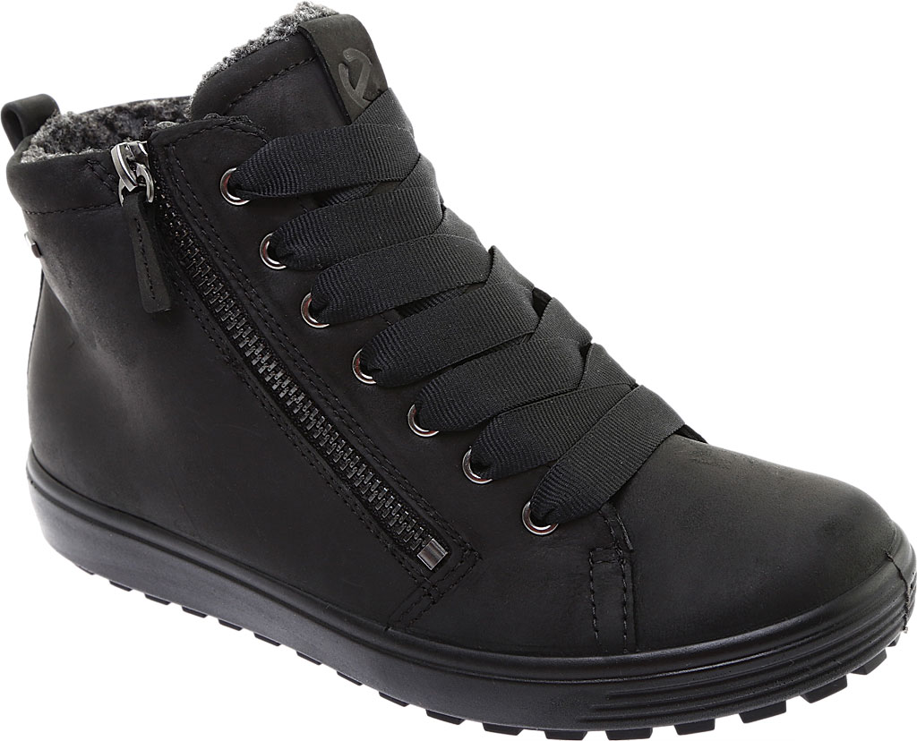 Women's ECCO Soft 7 Tred GORE-TEX High Top Sneaker, Black Cow Oil Nubuck, large, image 1