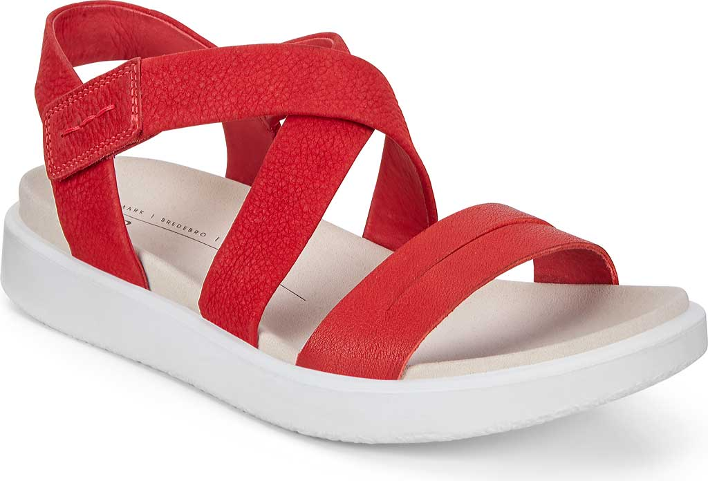 Women's ECCO Flowt Cross Strappy Sandal, Chili Red/Chili Red Leather, large, image 1