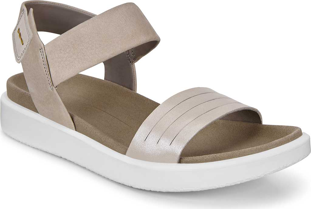 Women's ECCO Flowt Strap Sandal, Moon Rock Silver/Warm Grey Metallic Leather, large, image 1