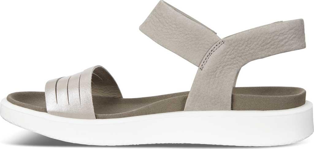 Women's ECCO Flowt Strap Sandal, Moon Rock Silver/Warm Grey Metallic Leather, large, image 3
