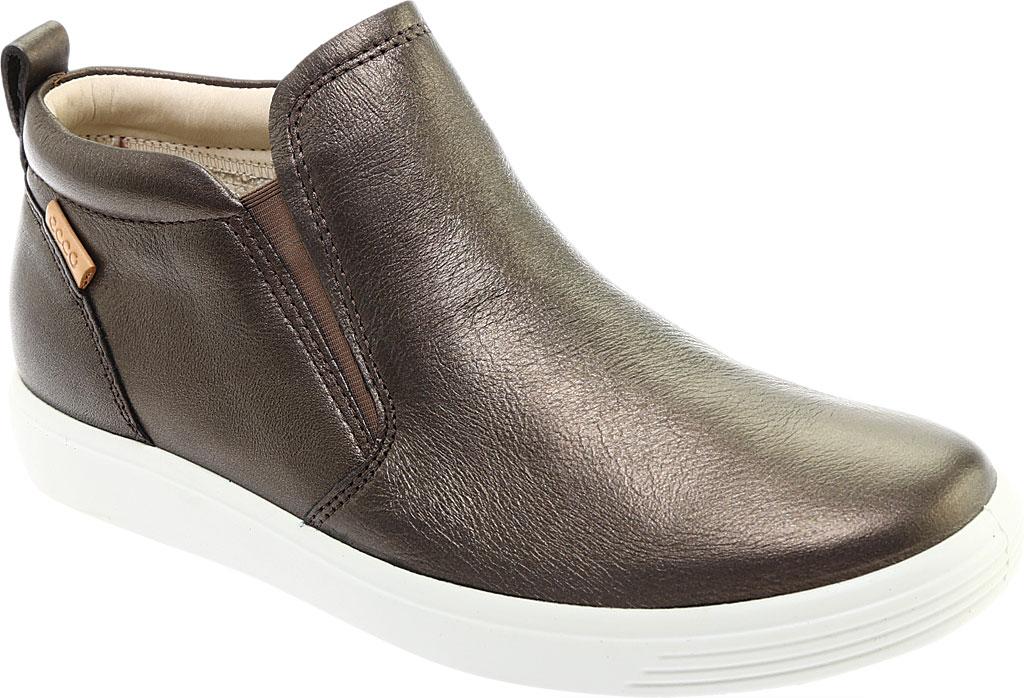 Women's ECCO Soft 7 Slip On Sneaker, Black Stone Metallic Leather, large, image 1