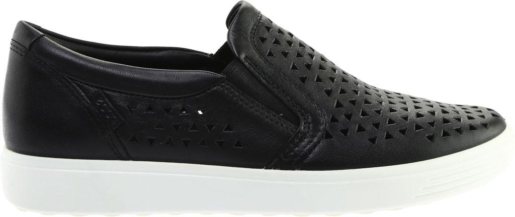 Women's ECCO Soft 7 Laser Cut Slip-On, Black Full Grain Leather, large, image 2
