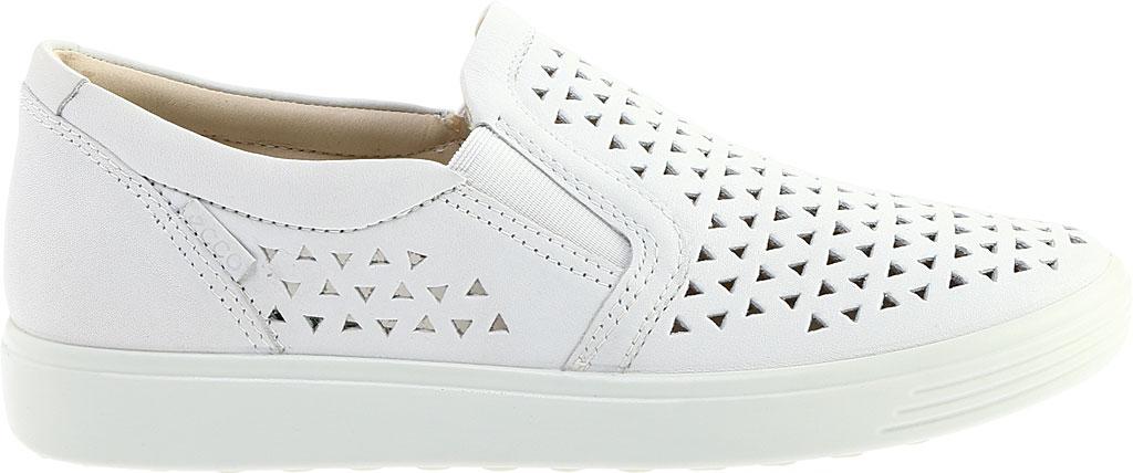 Women's ECCO Soft 7 Laser Cut Slip-On, White Full Grain Leather, large, image 2