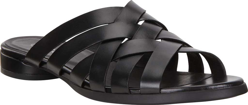 Women's ECCO Flat Strappy Slide, Black Leather, large, image 1