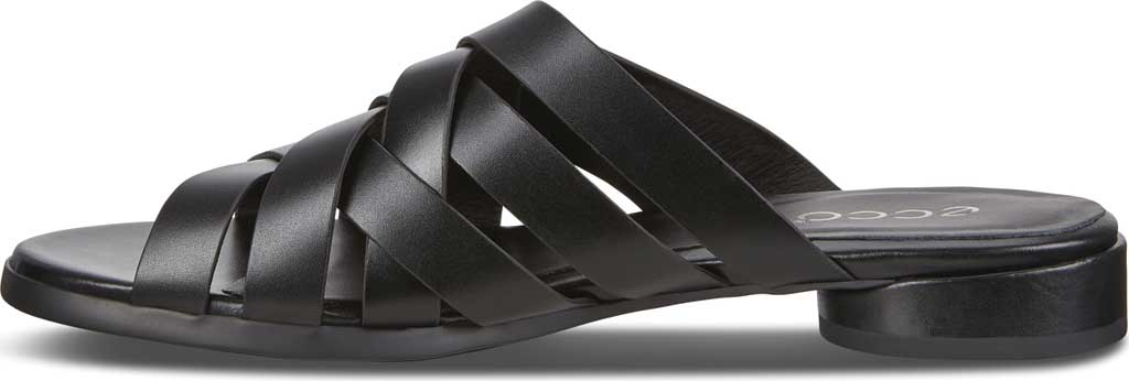 Women's ECCO Flat Strappy Slide, Black Leather, large, image 3